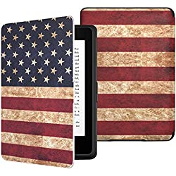 MoKo Case for Kindle Paperwhite, Premium Thinnest and Lightest PU Leather Cover with Auto Wake / Sleep for Amazon All-New Kindle Paperwhite (Fits 2012, 2013, 2015 and 2016 Versions), US Flag