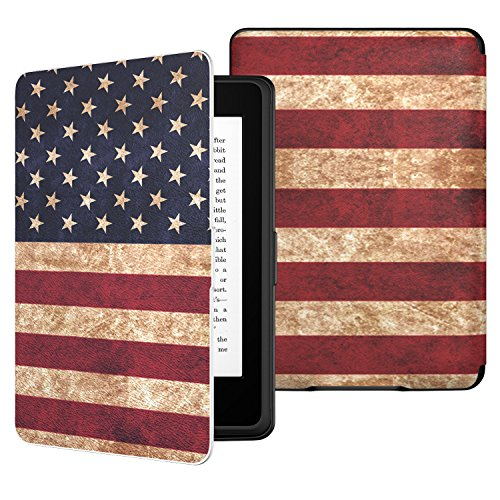 MoKo Case for Kindle Paperwhite, Premium PU Leather Cover with Auto Wake/Sleep Fits All Paperwhite Generations Prior to 2018 (Will not fit All-New Paperwhite 10th Generation), US Flag