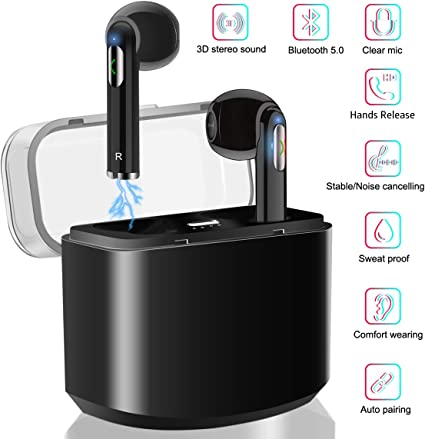 Wireless Bluetooth Headphones,V5.0 Portable Noise Cancelling HD Stereo Sport Earbuds Bluetooth Headset with Charging Box and Microphone,Compatible with IOS and Android Smartphones and Tablets