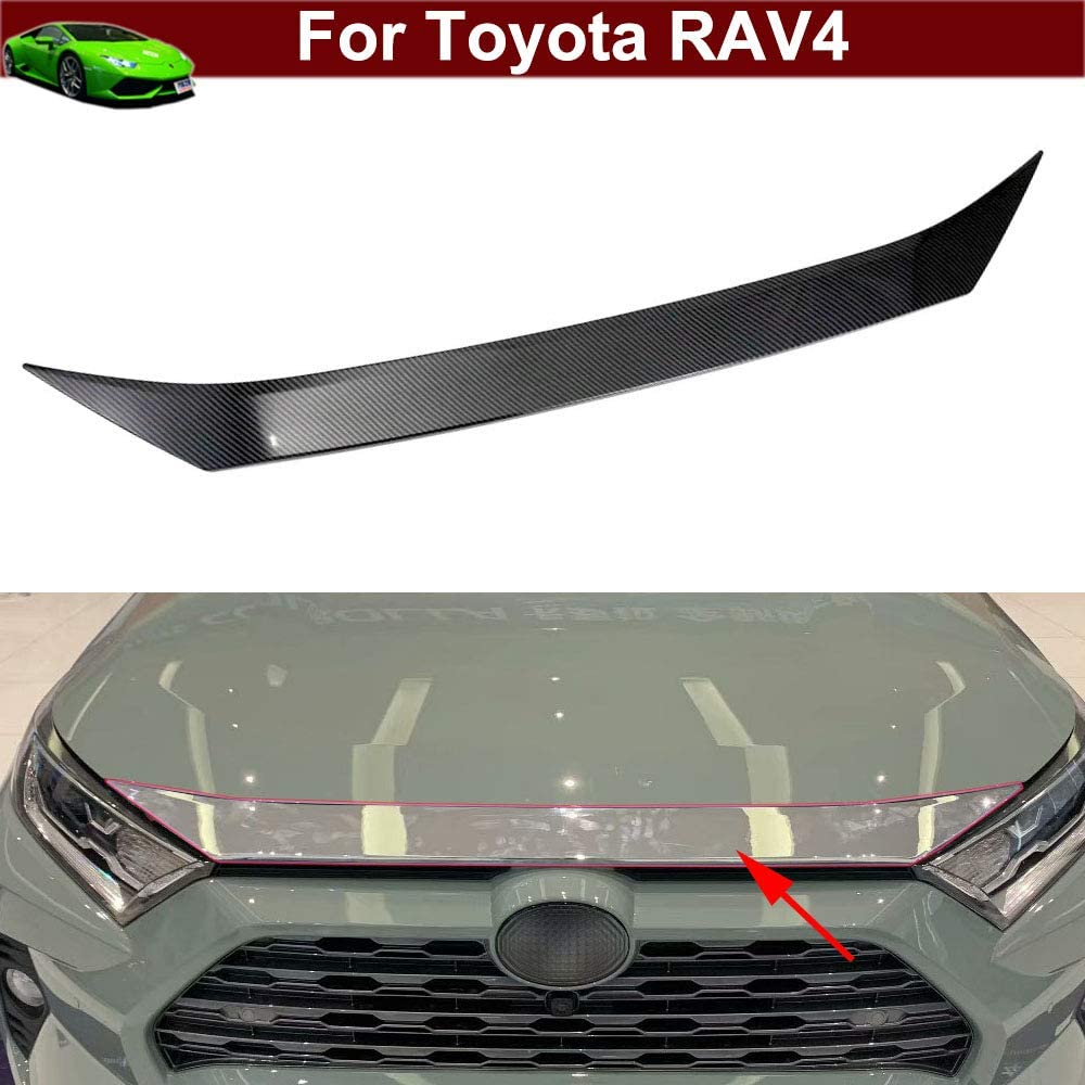 1pcs Carbon Fiber Front Hood Grill Cover Bonnet Trim Cover Trim Molding Trim Decor for Toyota RAV4 2019 2020 2021