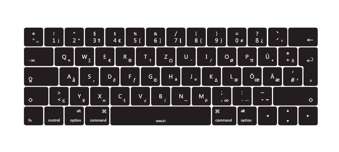 MiNGFi alem/án German QWERTZ Cubierta del teclado Black Keyboard Cover para 2016 MacBook Pro 13 15 con Multi-Touch Bar EU//ISO Disposici/ón Silicone Skin Negro