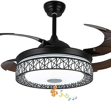 Pengfei Ventilador de Techo Inteligente Moderno de 42 Pulgadas con Luces Accesorios de iluminación de la lámpara del Altavoz Bluetooth, Control Remoto, aspas ...