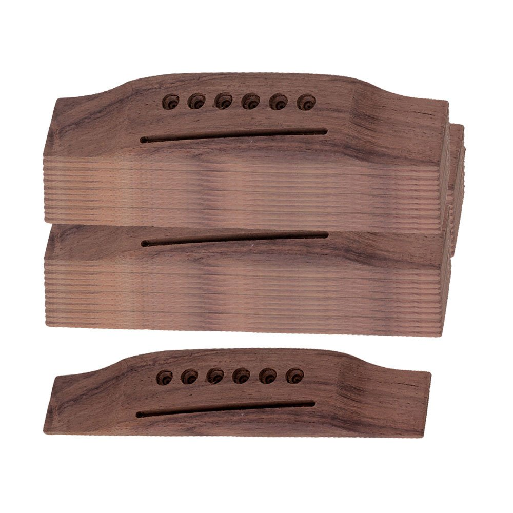 Yibuy Brown 6 String Rosewood Guitar Bridge for Folk Acoustic Guitar Set of 50