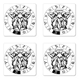 Ambesonne Zodiac Gemini Coaster Set of Four, Monochrome Zodiac Wheel and Male Twins in Ancient Greek Style Clothes, Square Hardboard Gloss Coasters for Drinks, Black and White