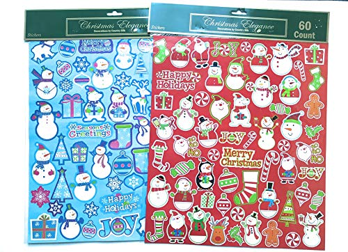 (Deluxe Christmas Stickers Set - Two Large Sheets of 120 Unique Christmas Theme Stickers - Cute Designs and Wide Variety - Great Value! )