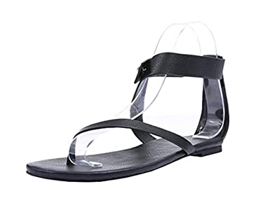 e906a5505 Shelers Womens Sandals Flat Ankle Buckle Gladiator Thong Flip Flop Casual  Summer Shoes (35 EU