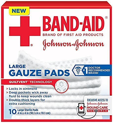 Band-Aid First Aid Large Gauze Pads, 4 In X 4 In, 10 Count (3 Pack) by J & J SALES & LOGISTICS CO by J & J SALES & LOGISTICS CO
