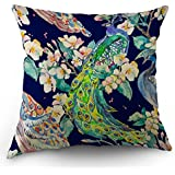 Moslion Peacock Pillow Cover Peacocks Tail Flower Throw Pillow Case 18 x 18 Inch Cotton Linen Square Cushion Decorative Cover Sofa Bed Blue Green Pink