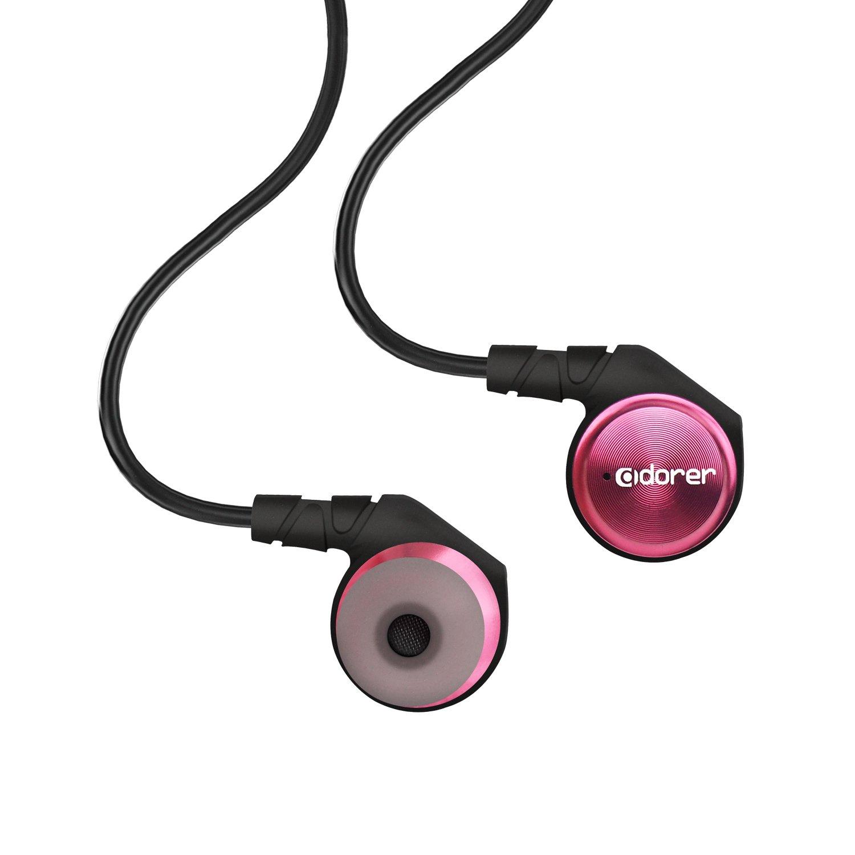 Adorer M9 Hochwertiger Geräuschisolierender In-Ear Kopfhörer mit Mikrofon, Aluminiumgehäuse 3,5mm Klinkenstecker Ohrhörer - Rot