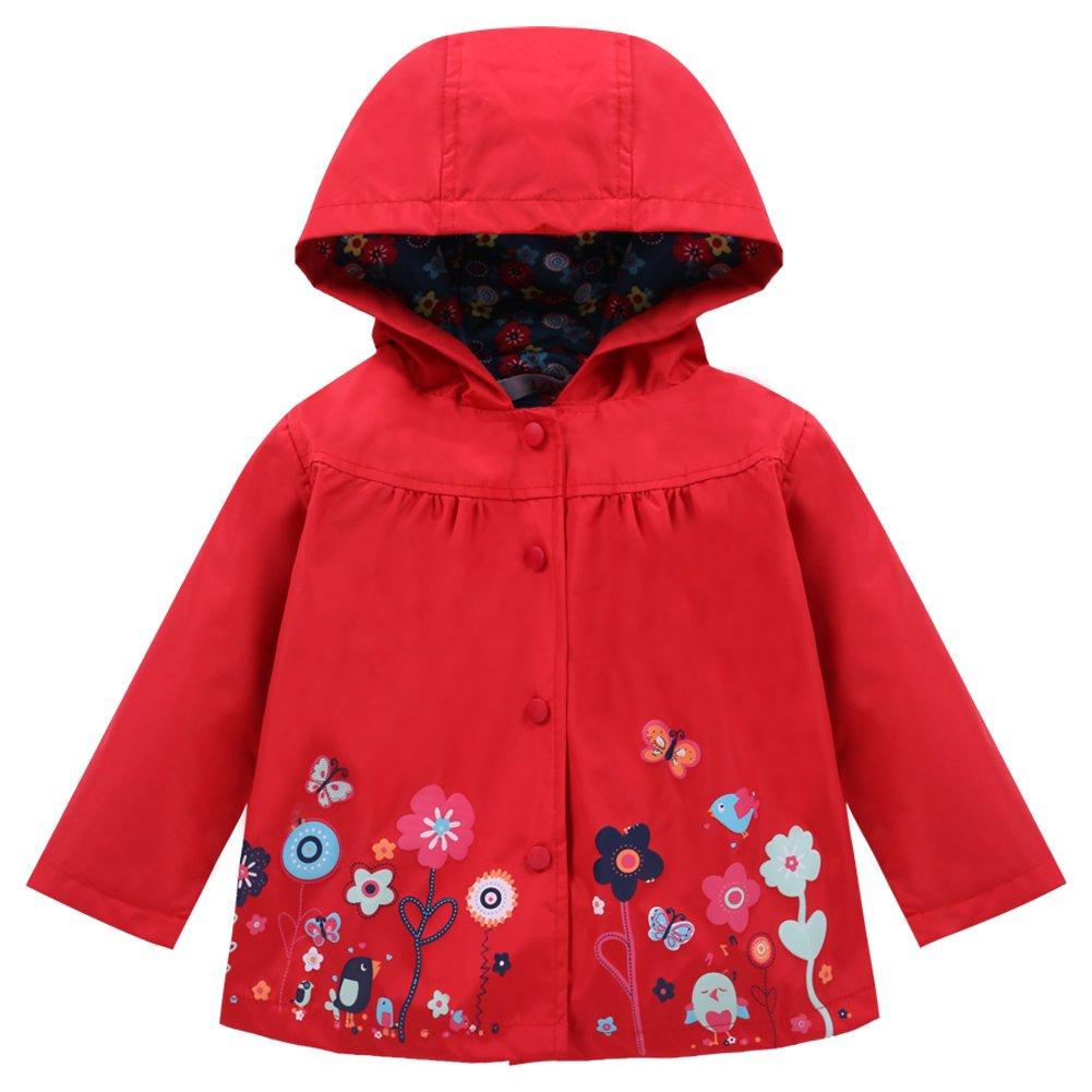 LZH Toddler Girls Raincoat Waterproof Outwear Coat Jacket with Hoodies C004