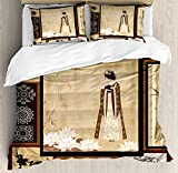 Japanese Comforter Set, Girl in Traditional Dress and Cultural Patterns Ornaments Antique Eastern Collage Design Bedding Set 4 Piece Duvet Cover Set Includes 2 Pillow Shams, Multicolor Twin Size
