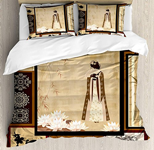 Japanese Comforter Set, Girl in Traditional Dress and Cultural Patterns Ornaments Antique Eastern Collage Design Bedding Set 4 Piece Duvet Cover Set Includes 2 Pillow Shams, Multicolor Twin Size by Funy Decor