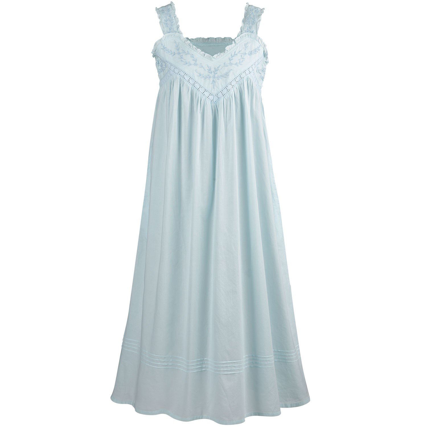 La Cera Cotton Chemise - Lace V-Neck Nightgown with Pockets Nightgown - Blue - Large by La Cera