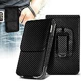 ONX3 (Carbon Black) Alcatel Lume Case Premium Vertical Faux Leather Belt Holster Pouch Cover