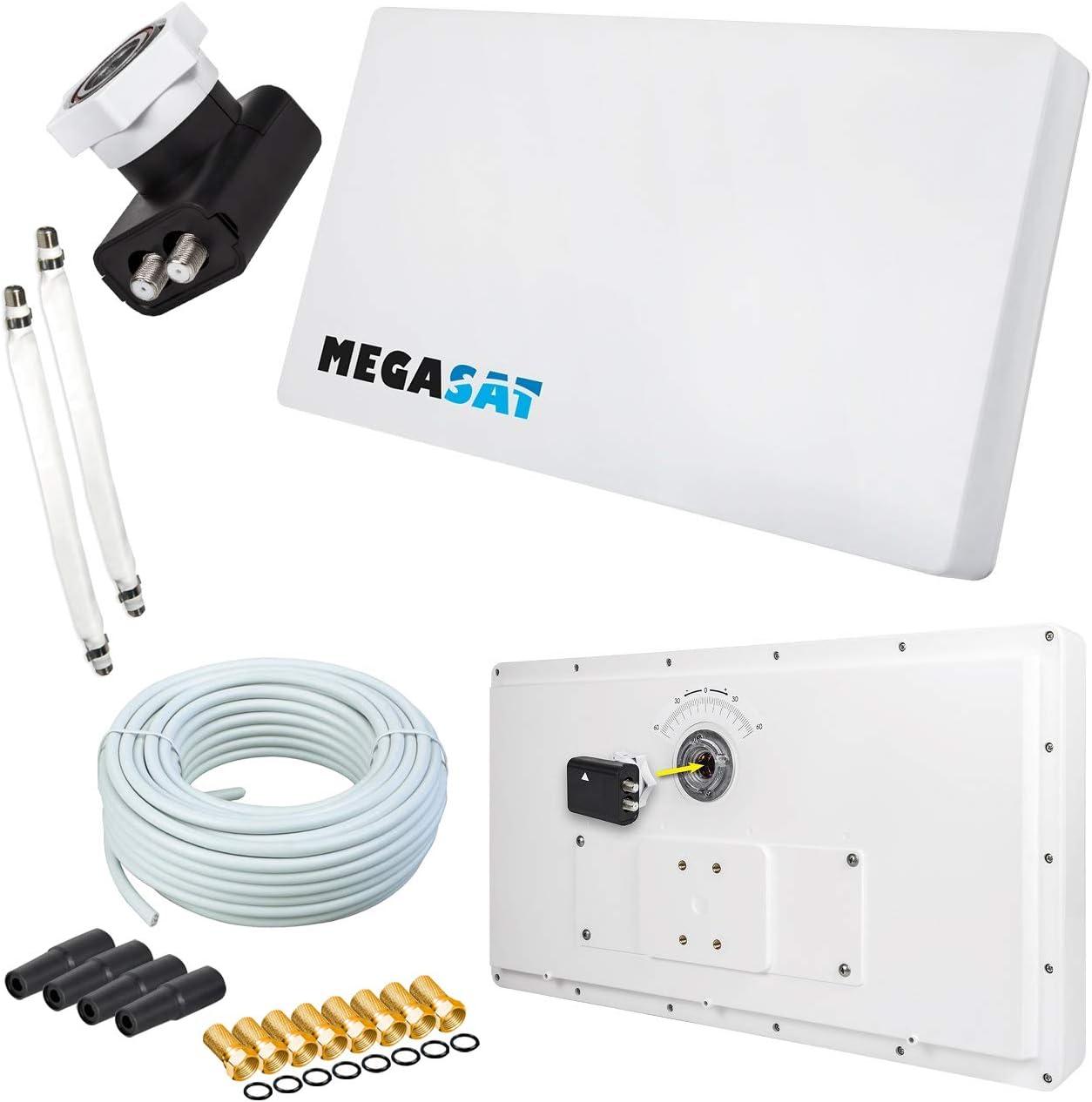 Antena plana Micro Sat Single + 10 m Cable + 1 Ventana durchführungen + 4 conectores F
