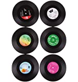 M-Aimee 6 Pcs/ set Retro Vinyl CD Record Drinks Coasters Home Table Cup Mat Coffee Drink Placemat Tableware Spinning