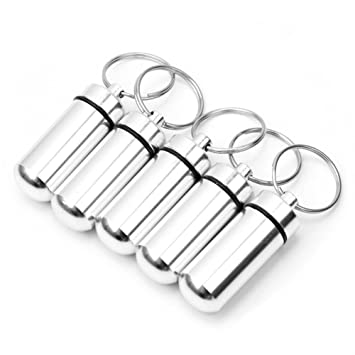 amazon new 5 silver waterproof aluminum pill box case drug  new 5 silver waterproof aluminum pill box case drug holder keychain container used for holding