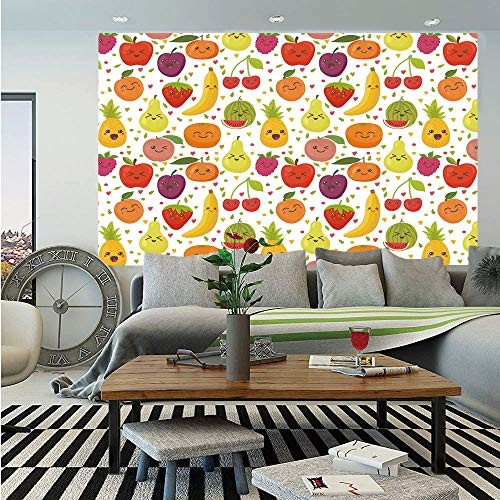(SoSung Fruits Wall Mural,Smiling Banana Funny Mulberry Happy Apricot Peach Hearts Lemons Kids Nursery Theme,Self-Adhesive Large Wallpaper for Home Decor 83x120 inches,Multicolor)