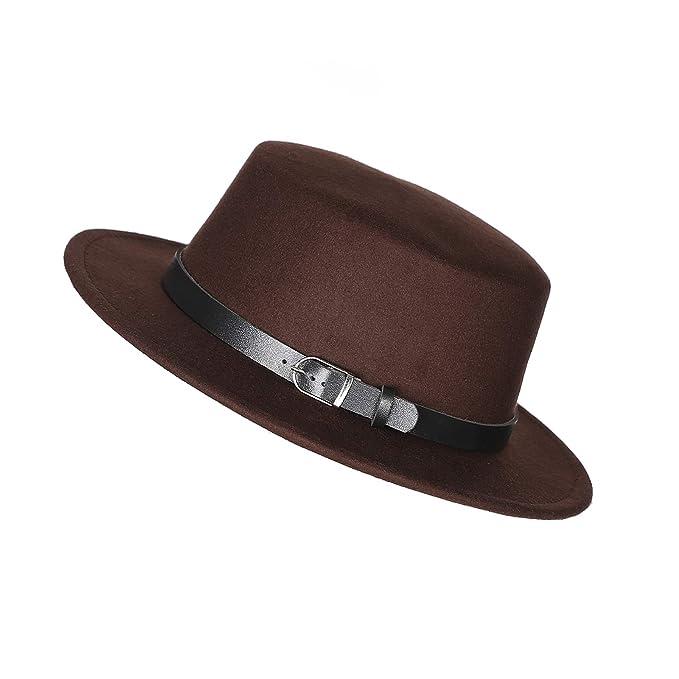 89283a5c9326bd Prefe Women's Brim Fedora Wool Flat Top Hat Church Derby Belt Cap (Brown)