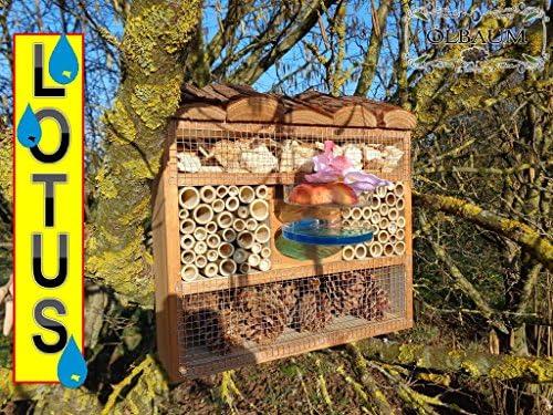 Haus Insektenhotel XXL mit/ohne Ständer Lotus - Luxushotel 30 cm, Insektenhaus als funktionale Gartendeko KOMPLETT mit Holzrinde-Naturdach und Fütterungsstation,
