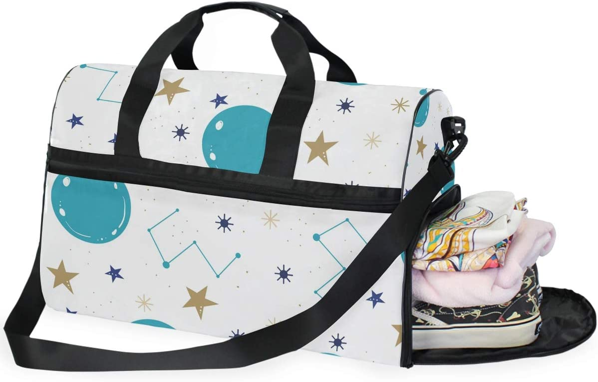 Travel Duffels Constellation Design Duffle Bag Luggage Sports Gym for Women /& Men