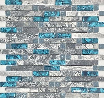 Gray Marble Tile Teal Blue Glass Mosaic Random Interlocking 9805