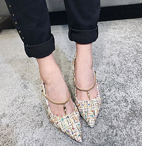 9Cm Apricot Single Ladies Leisure All MDRW Match Heeled 38 Pointed Elegant Work Fine Princess A Lady Color High Shoes Shoes Shoes With Spring HwqXO