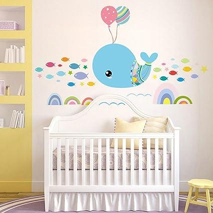 Wallpark Dessin Animé Océan Bleu Dauphin Poisson Amovible Stickers Muraux Autocollants Enfants Bébé Chambre Pépinière Diy Décoratif Adhésif Stickers