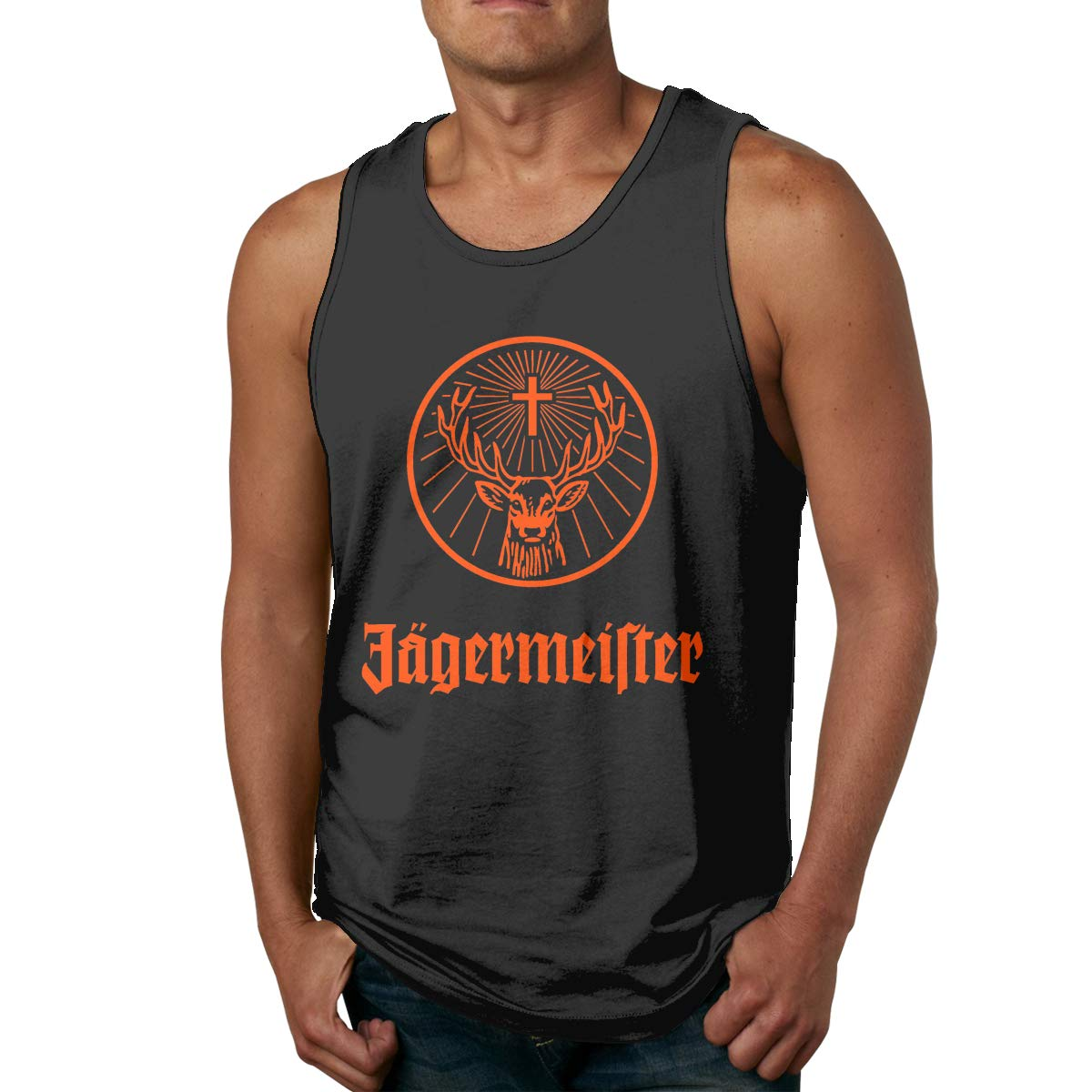Heather Jagermeister Logo Mens Big /& Tall Shrink-Less Lightweight Sleeveless Muscle T-Shirt