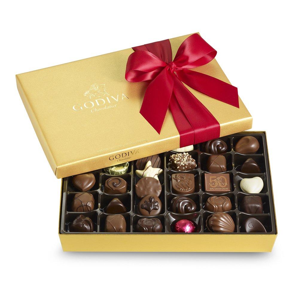 Godiva Chocolatier Red Ribbon Ballotin Valentines Chocolate Gift, 36 Count by GODIVA Chocolatier
