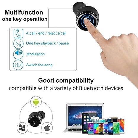 Auriculares inalámbricos Bluetooth,Hangrui X1T Estéreo inalámbrico Auriculares intrauditivos,con Micrófono (X2T, Silver): Amazon.es: Electrónica