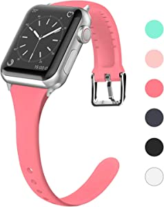 Lwsengme Compatible for Apple Watch Band 38MM 40MM 42MM 44MM, Silicone Slim Women iWatch Bands Wristband Compatible for Apple Watch Series 4 3 2 1 (Light Pink, 42MM/44MM)