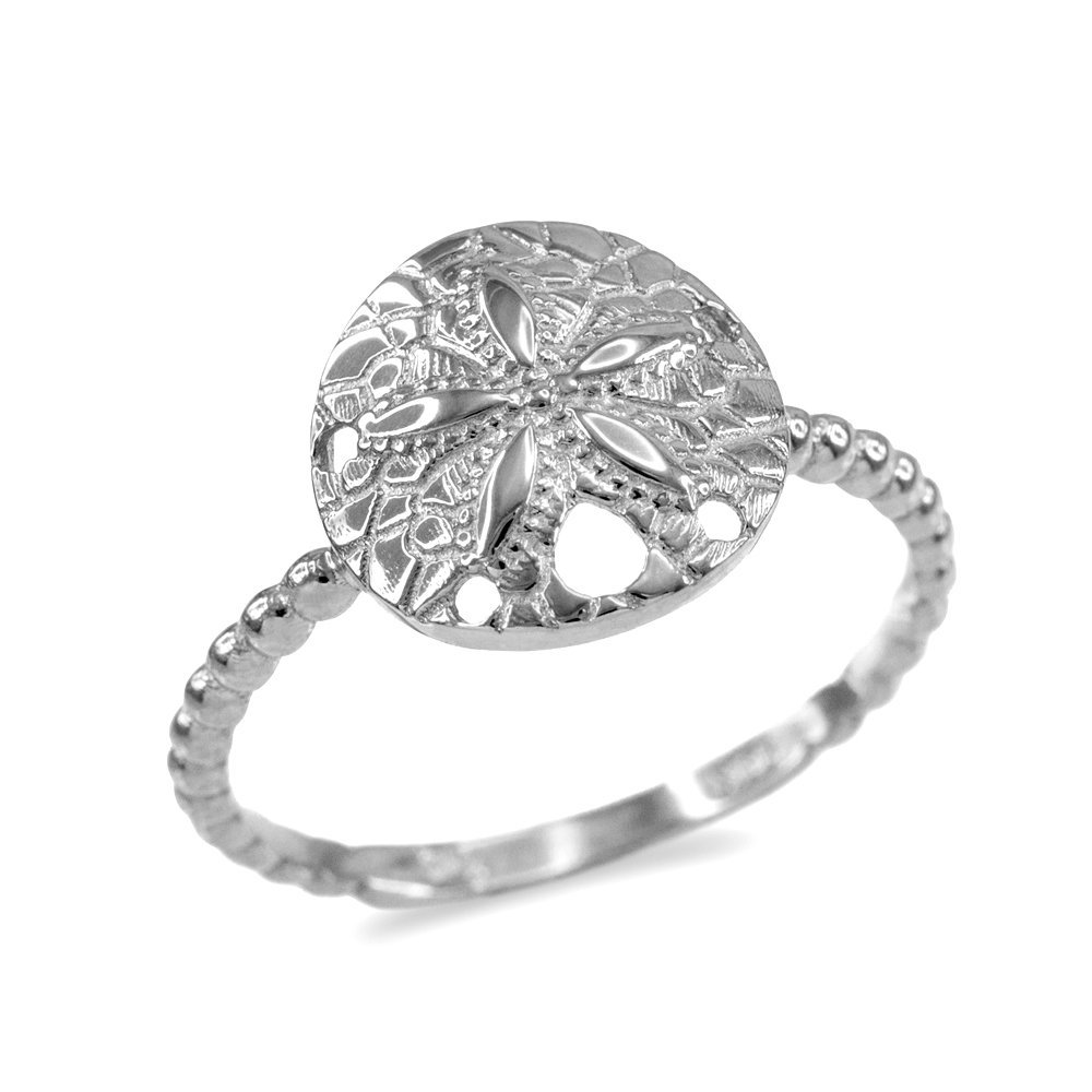 Fine 14k White Gold Beaded Band Sand Dollar Ring (Size 9)