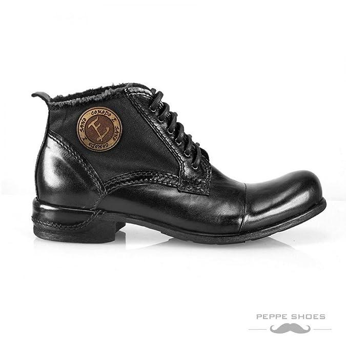 Modello Vieste - Cuero Italiano Hecho A Mano Hombre Piel Negro Botas Bajas Botines - Cuero Cuero Pintado a Mano - Encaje: Amazon.es: Zapatos y complementos