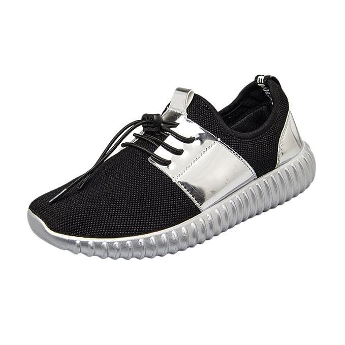 Zapatillas Deportivas de Mujer Negras YiYLunneo Costura De Moda Sneakers Malla De Charol Shoes Ocio Transpirable Zapatos Zapatillas De Deporte: Amazon.es: ...