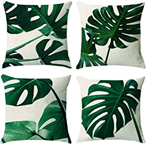 KAKABUQU Tropical Green Leaf Throw Pillow Covers 18x18 Set of 4, Linen Palm Leaf Leaves Decorative Throw Pillow Cushion Cases Cover for Outdoor Sofa Patio Couch Car Decor
