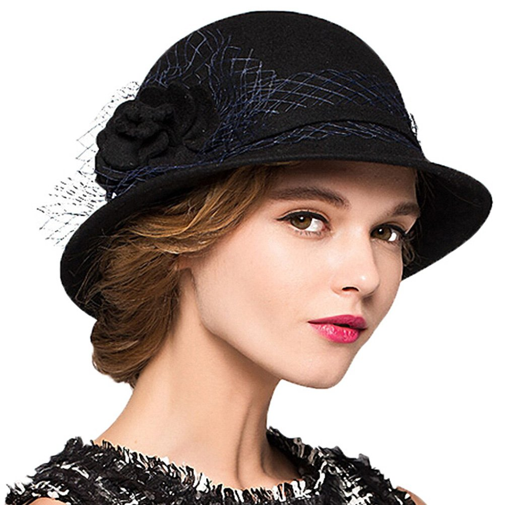 Maitose&Trade; Women's Wool Felt Bowler Hat Black by Maitose
