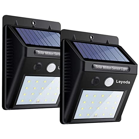 Solar Luces Con Sensor De Movimiento Por Leyoda 2 PACK, 20 LED Impermeable Luz de