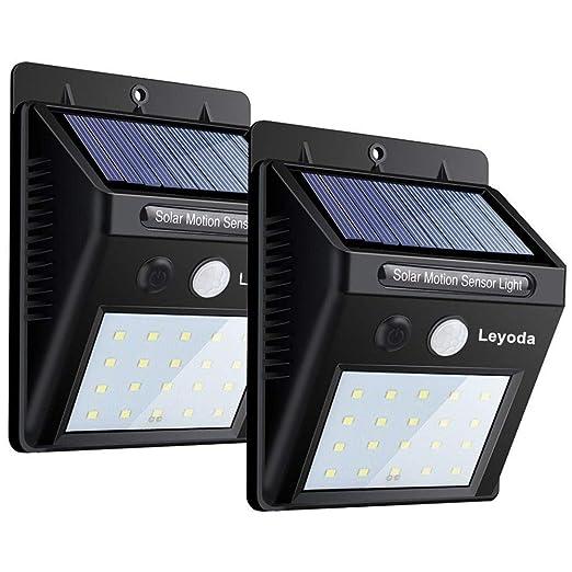 Solar Luces Con Sensor De Movimiento Por Leyoda 2 PACK, 20 LED Impermeable Luz de Seguridad ...