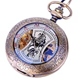 Skeleton Pocket Watch Mechanical Hand Wind Half Hunter Steampunk Cosplay – Roman Numerals with Chain PW14