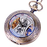 Skeleton Pocket Watch Mechanical Hand Wind Half Hunter Steampunk Cosplay – Roman Numerals with Chain PW14