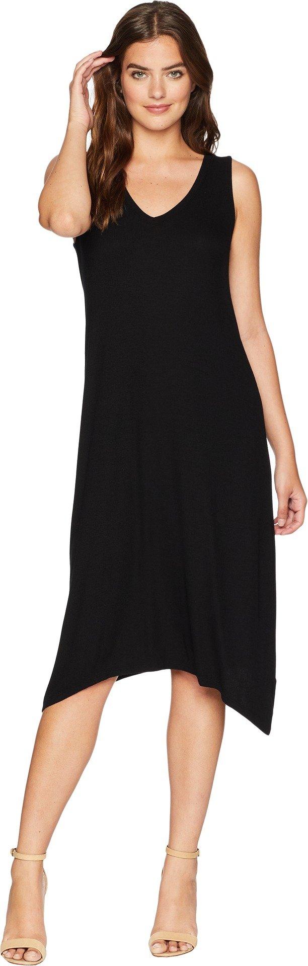 Michael Stars Women's 2x1 Rib Cross Back Tank Dress, Black, Small