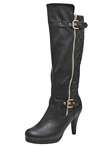 579c0f9b788 Amazon.com   Luxury Divas Black Tall Quilted High Heel Boots for Women Size  5.5   Knee-High