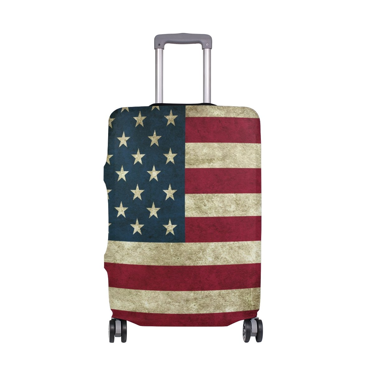 My Daily Vintage American Flag Luggage Cover Fits 24-26 Inch Suitcase Spandex Travel Protector M