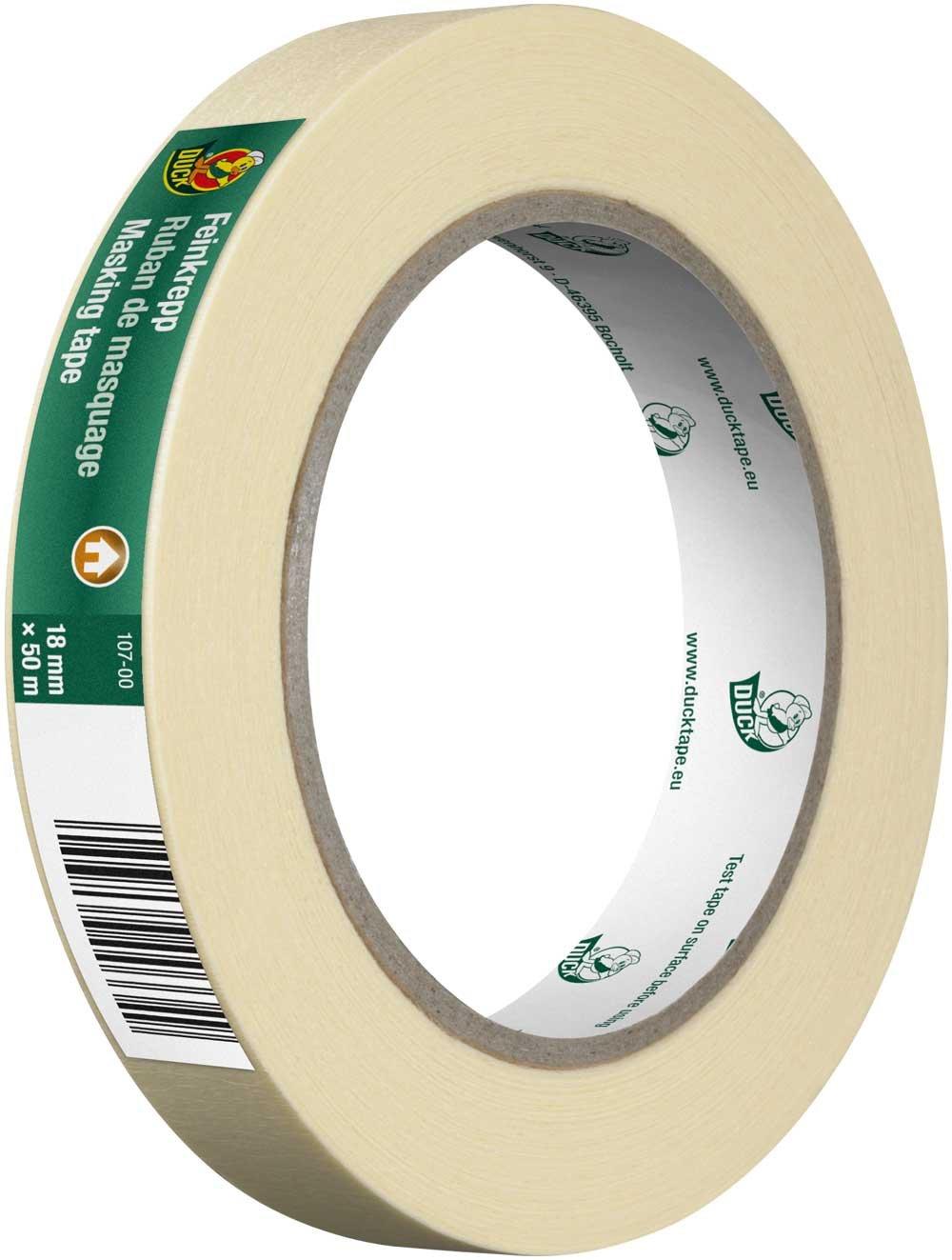 Dimensions : 30mm x 50m Lot de 3 Pour surfaces lisses en int/érieur Couleur nature DUCK Ruban adh/ésif de masquage fin en papier cr/êp/é 107-05