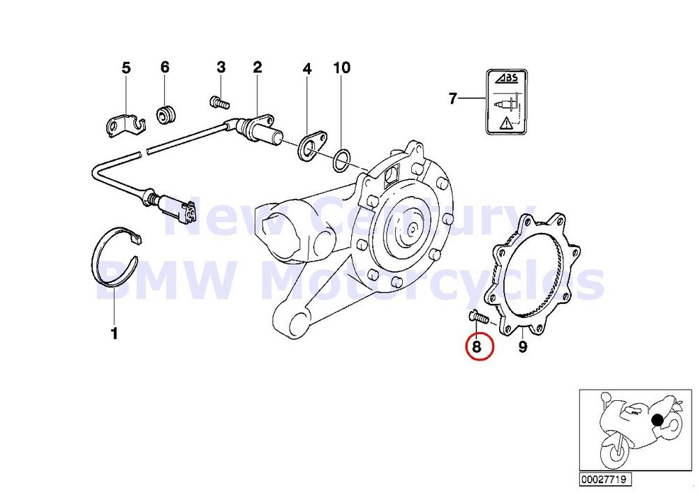 BMW Genuine Motorcycle Brake Screw M8X15.5 ZNS3 MK R1100GS R1100R R850 R1100RT C600 Sport C650GT R nine T R1200GS R1200GS Adventure HP2 Enduro HP2 Megamoto R1200RT R900RT R1200R R1200ST HP2 Sport R12