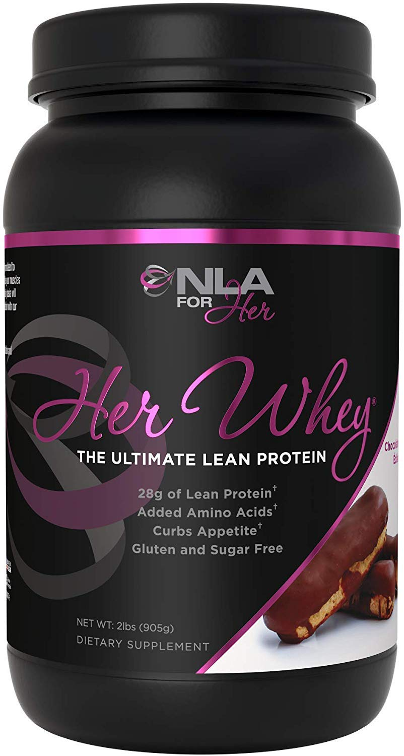 NLA for Her - Her Whey - Ultimate Lean Whey Isolate Protein - 28g of Lean Protein, Added Amino Acids for Recovery, Builds Muscle, & Helps Curb Appetite - Chocolate Éclair - 2 Lb Tub