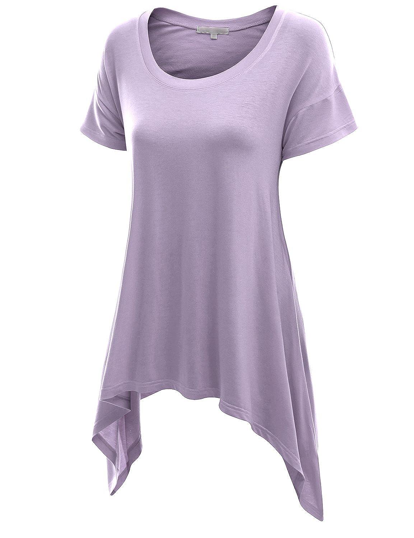 Doublju Womens Basic Short Sleeve Longline Asymmetrical Tunic Top Womens Tunic KWTS090 77