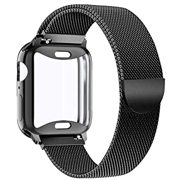 KEOLUS Compatible for Apple Watch Band 38mm 40mm 42mm 44mm with Screen Protector, Soft TPU Protective Case with Stainless Steel Mesh Loop Replacement ...