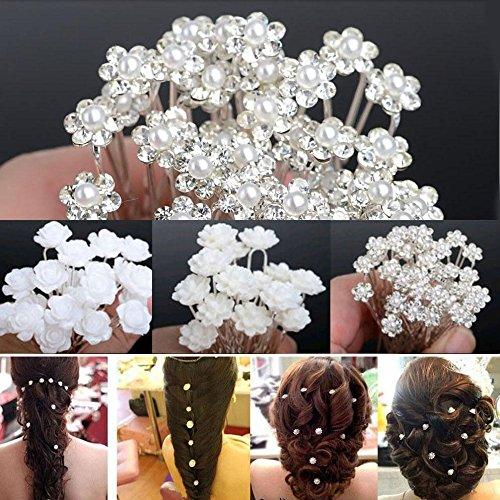 20 Pcs Bridal Wedding Pins Rose Flower Crystal Hairpin Women Jewelry Hair DSUK